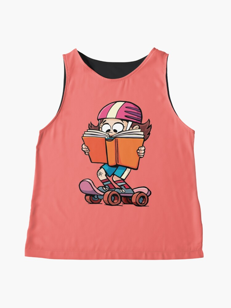Alternate view of girl rides a skateboard and reads a book Sleeveless Top