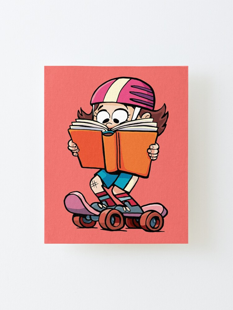 Alternate view of girl rides a skateboard and reads a book Mounted Print