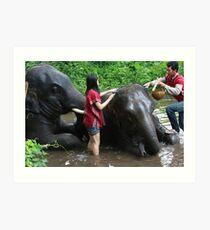 Bathing Chom Puu Art Print