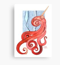 Magic Octopus - Red Metal Print