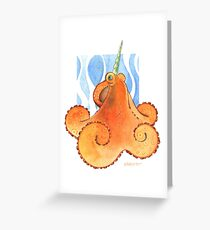 Magic Octopus - Orange Greeting Card