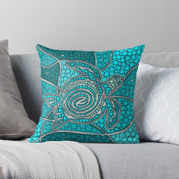 Turtle Aboriginal Dot Art Teal and silver Throw Pillow