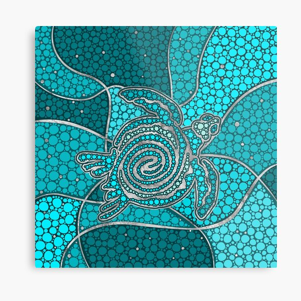 Turtle Aboriginal Dot Art Teal and silver Metal Print