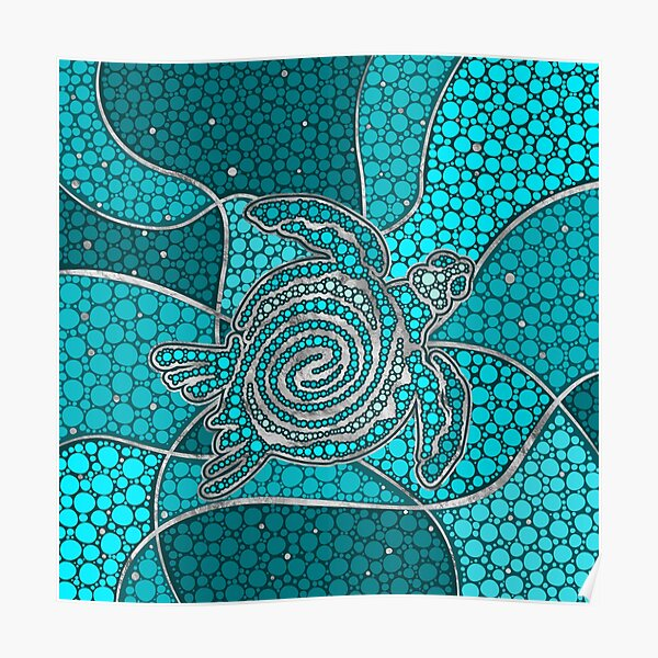 Turtle Aboriginal Dot Art Teal and silver Poster