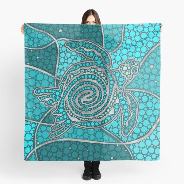 Turtle Aboriginal Dot Art Teal and silver Scarf