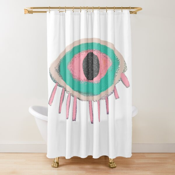 Eye Shower Curtain Vintage Tattoo Boho Occult Print for Bathroom