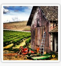 Rustic Barn in Wine Country with John Deere Equipment  Sticker