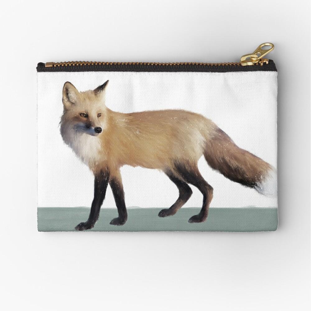 Fox on Sage Zipper Pouch