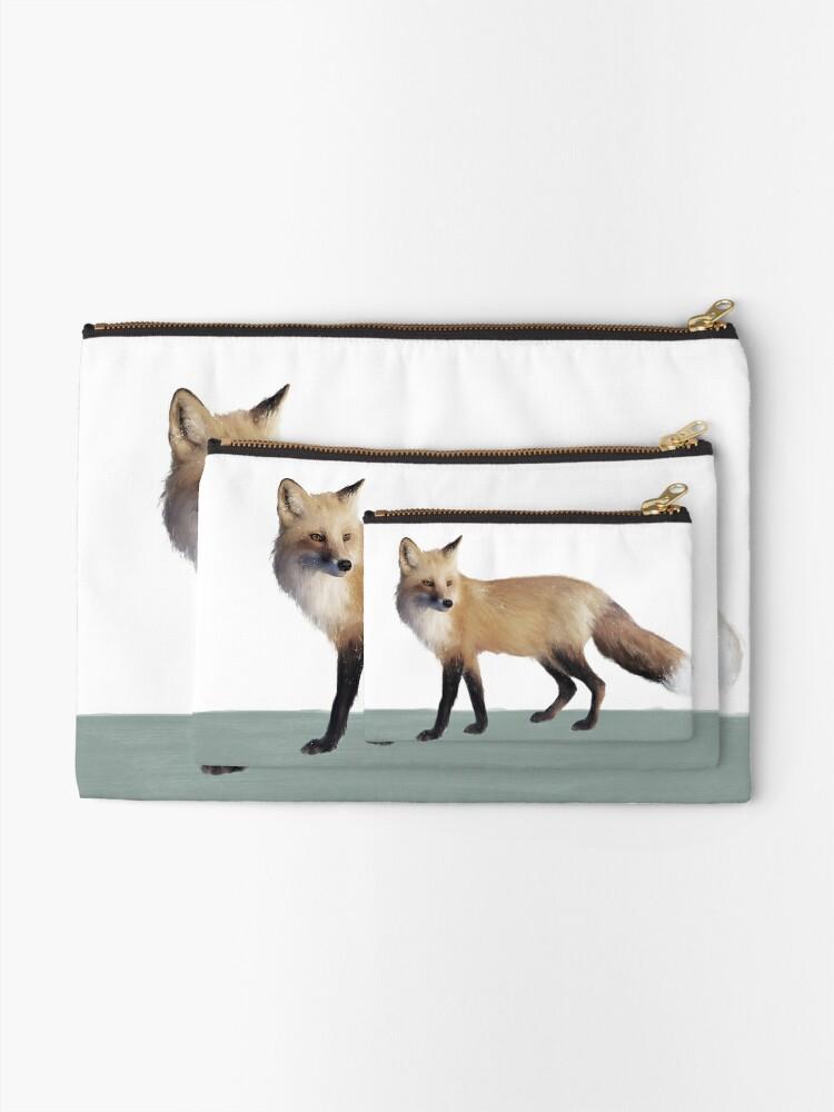 Alternate view of Fox on Sage Zipper Pouch