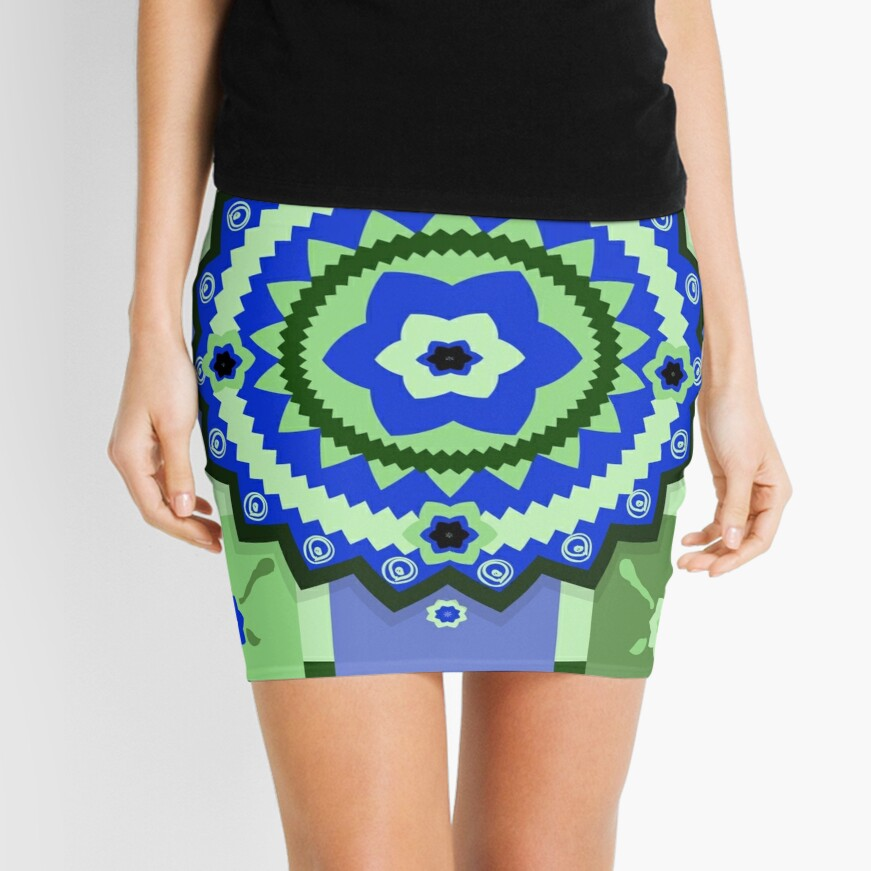 Flowery Tile Design Mini Skirt