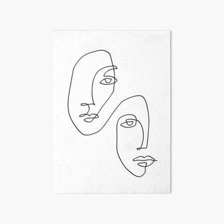 Faces - Line Art Art Board Print