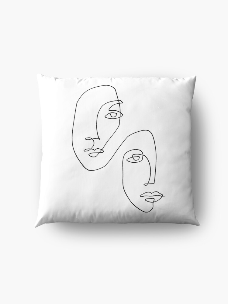 Alternate view of Faces - Line Art Floor Pillow