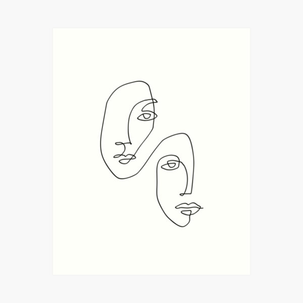 Faces - Line Art Art Print