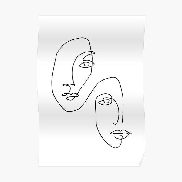 Faces - Line Art Poster