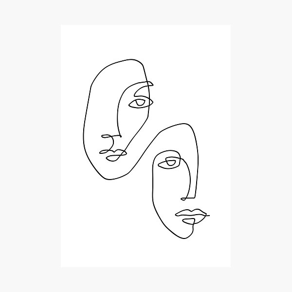 Faces - Line Art Photographic Print