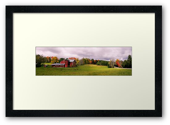 Panorama of Barn in Fall by TomSpencer