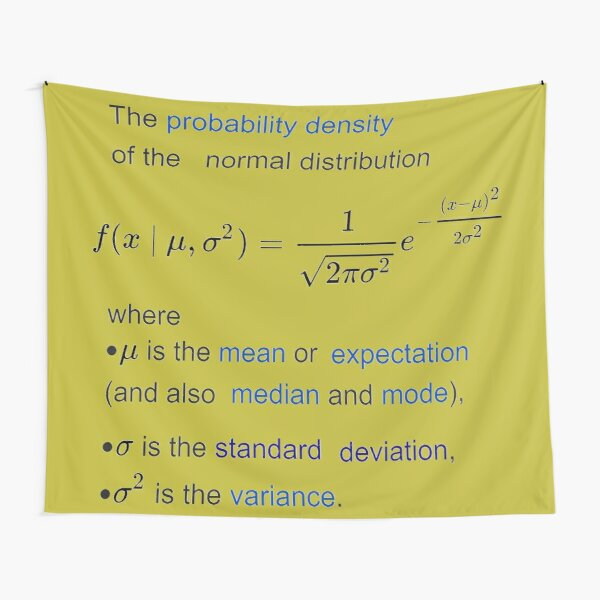 Probability Density of the Normal Distribution -  mean, expectation, median, mode, standard deviation, variance Tapestry