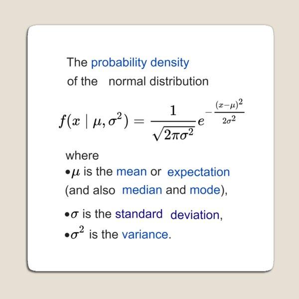 Probability Density of the Normal Distribution -  mean, expectation, median, mode, standard deviation, variance Magnet