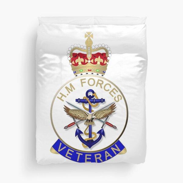 HM FORCES VETERAN BADGE. BRITISH VETERAN. Duvet Cover
