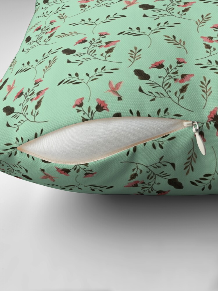 Alternate view of Small Rose Flowers and Hummingbirds Floral Pattern Flowers in Pink and Bark Brown on Mint Green Throw Pillow