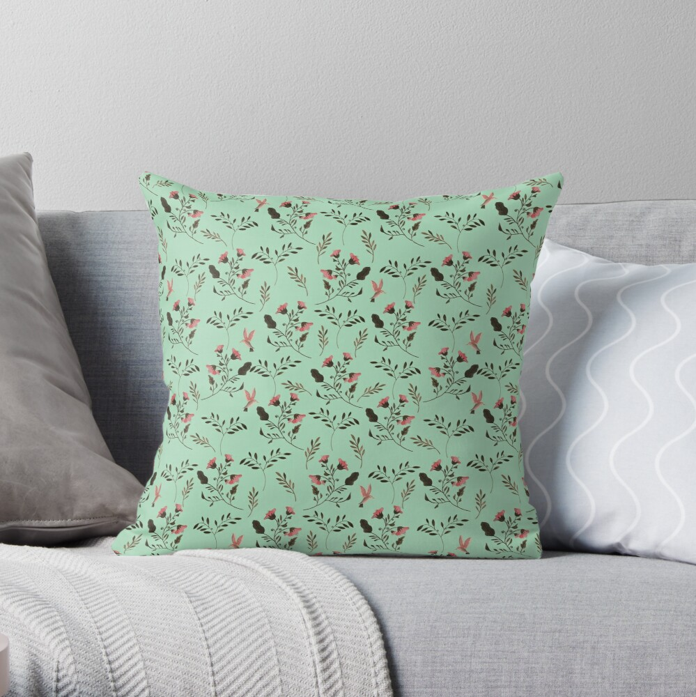 Small Rose Flowers and Hummingbirds Floral Pattern Flowers in Pink and Bark Brown on Mint Green Throw Pillow