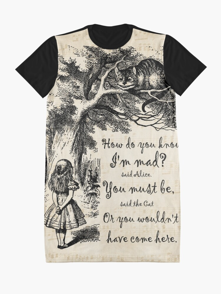 Alternate view of Alice In Wonderland Quote - How Do You Know I'm Mad Graphic T-Shirt Dress