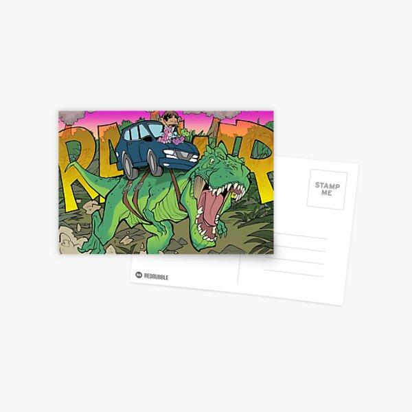 Riding a T-Rex! Postcard