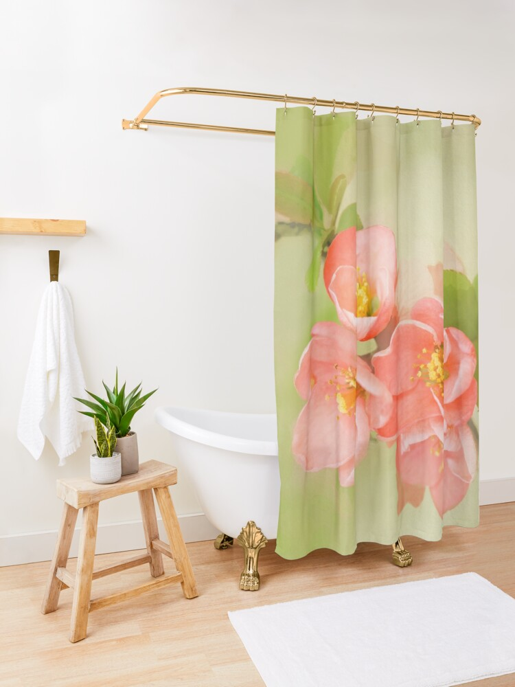 Alternate view of Coral & Green Watercolor Floral Shower Curtain