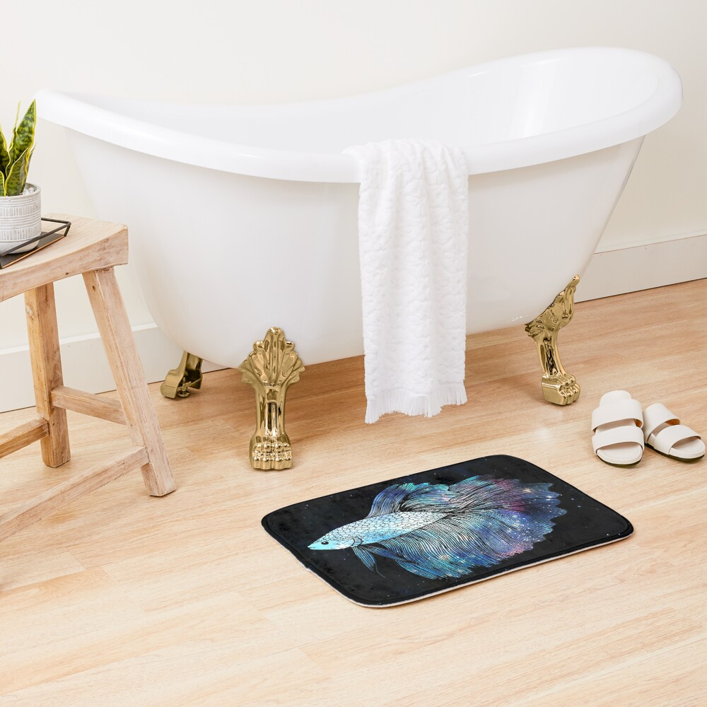 Blue Galaxy Betta Fish Bath Mat
