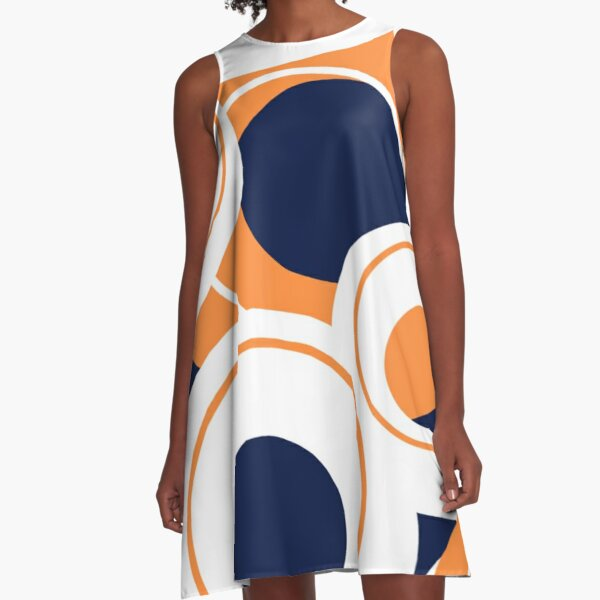 Navy, orange and white abstract circle design A-Line Dress