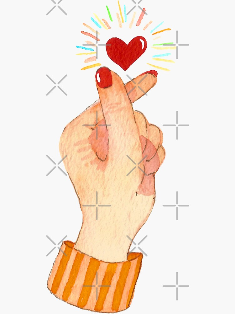 Cute Watercolor Finger Heart by annieparsons