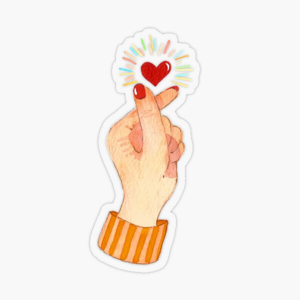 Cute Watercolor Finger Heart Transparent Sticker