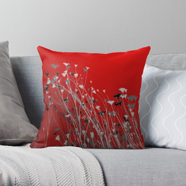 Wild Flowers on Red Throw Pillow