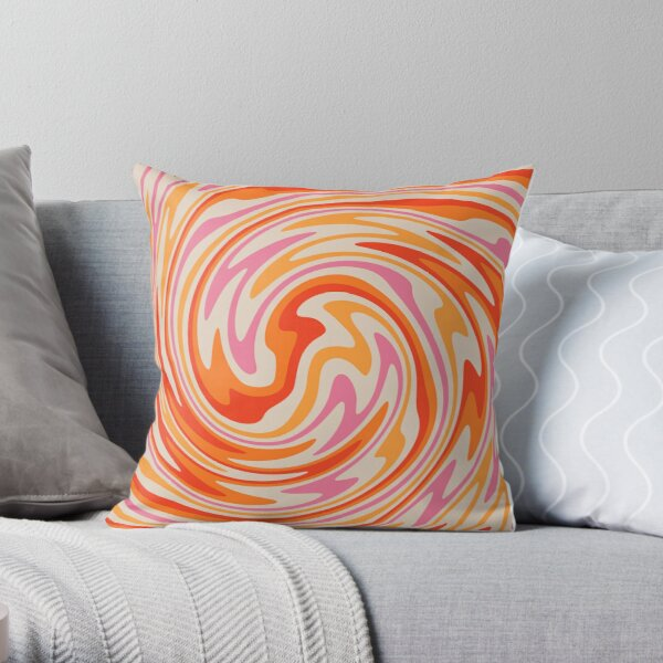 70s Retro Swirl Color Abstract Throw Pillow