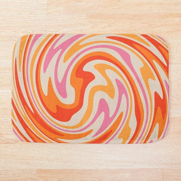 70s Retro Swirl Color Abstract Bath Mat