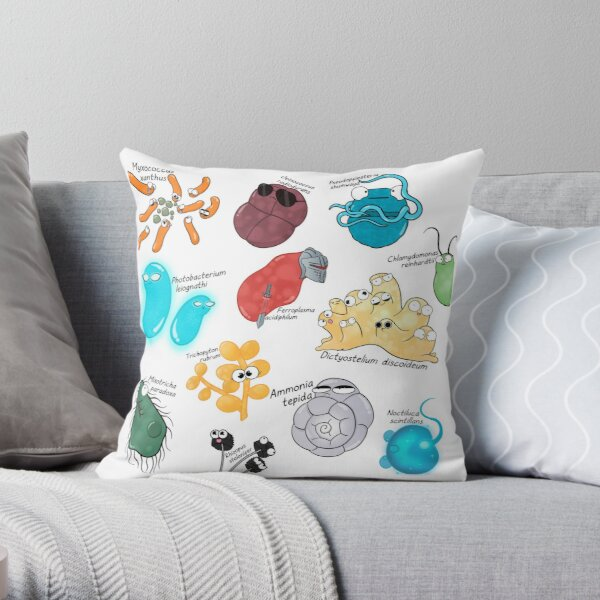 Microbe Menagerie Throw Pillow