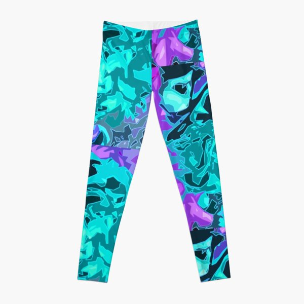 Abstract Teal and Purple Design Leggings