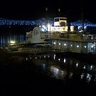 Night Time Riverboat and Bridge by Dan McKenzie