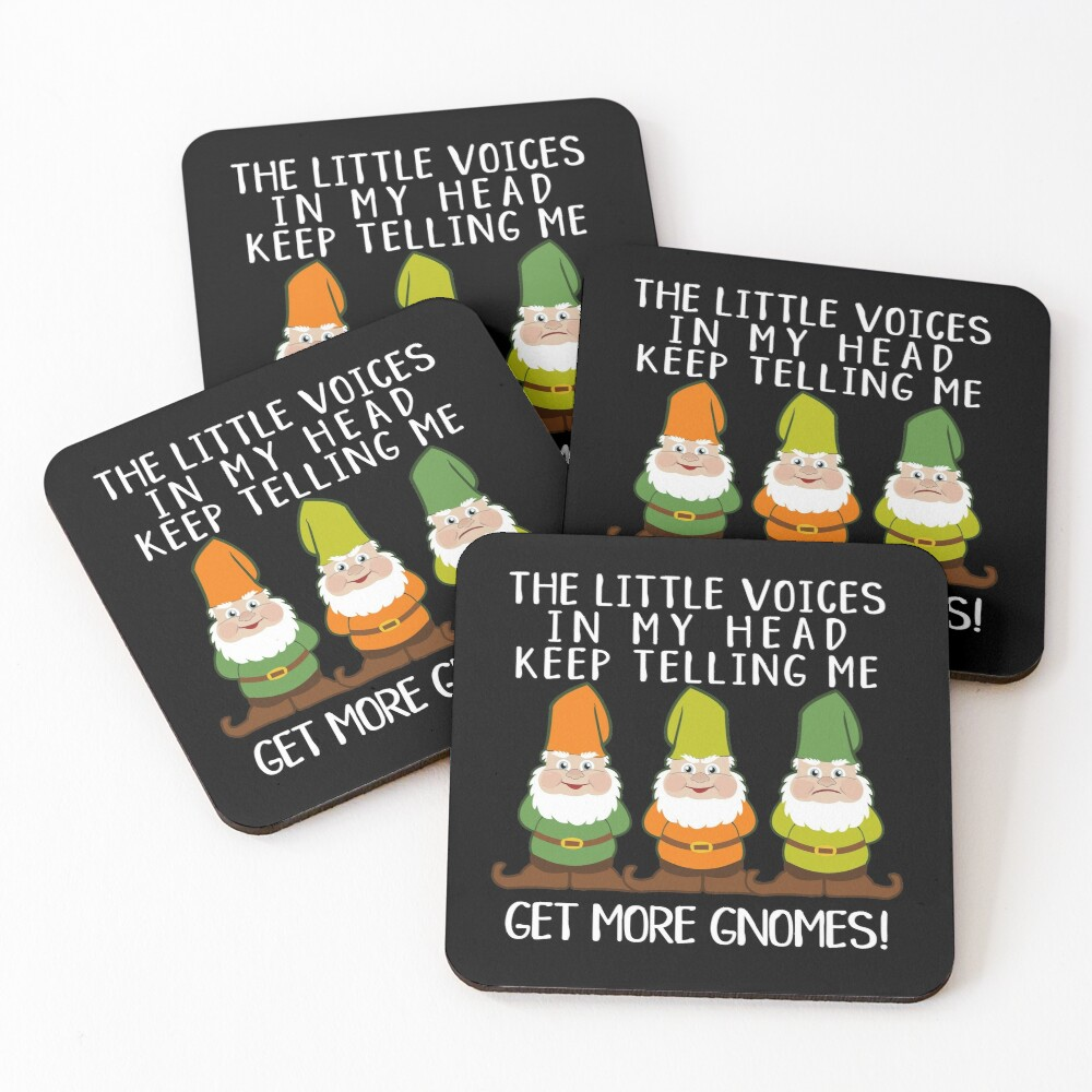 The Littles Voices Get More Gnomes Dark Coasters (Set of 4)