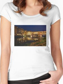 Impressions Of Florence - Ponte Vecchio Evening Women's Fitted Scoop T-Shirt