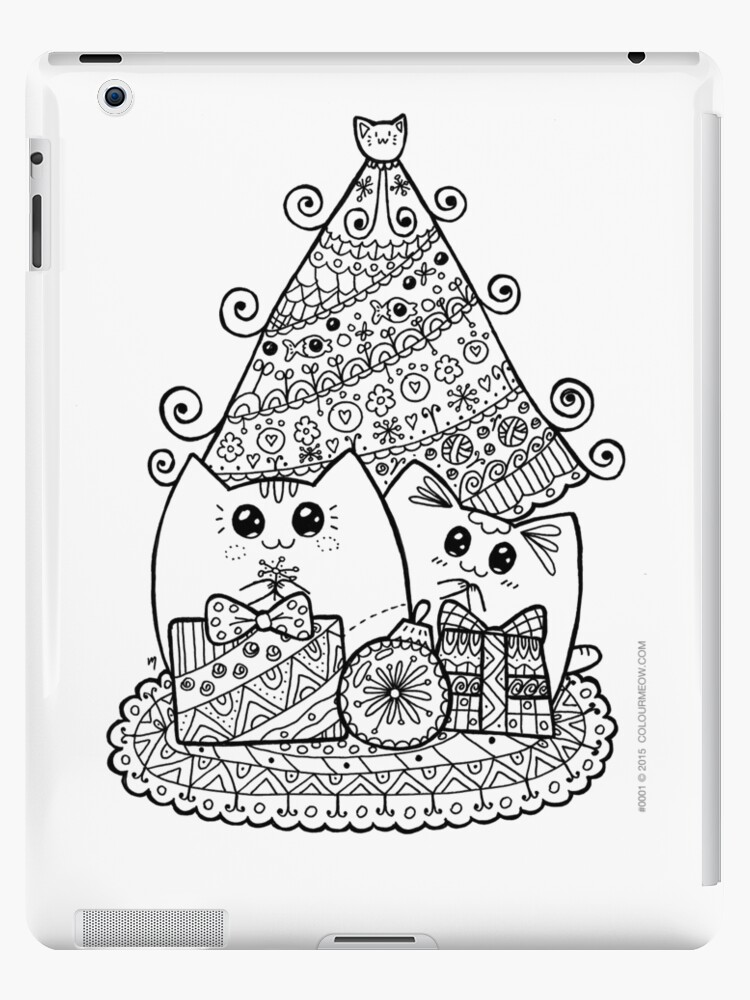 Christmas Cats With Gifts Kawaii Cat Colouring Drawing Ipad Cases