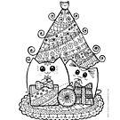Weihnachtskatzen mit Geschenken. Kawaii Cat Coloring Zeichnung. von Natalie Cat