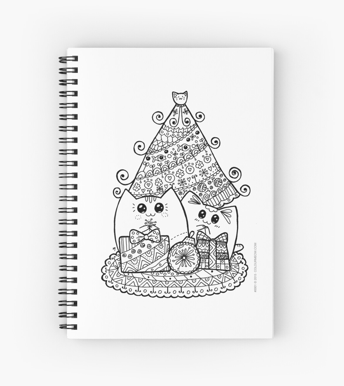 christmas cats with gifts kawaii cat colouring drawing by natalie cat