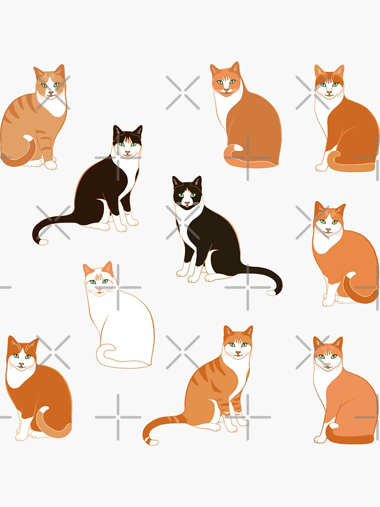 Ginger Cats on pink (with stickers) by nadyanadya