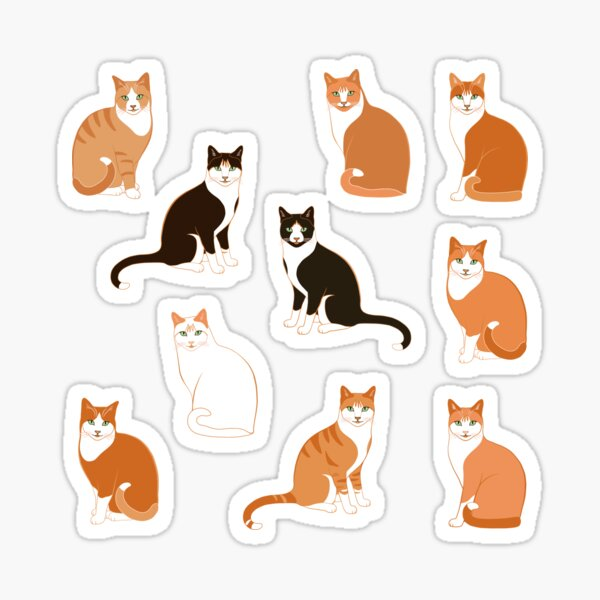 Ginger Cats on pink (with stickers) Sticker