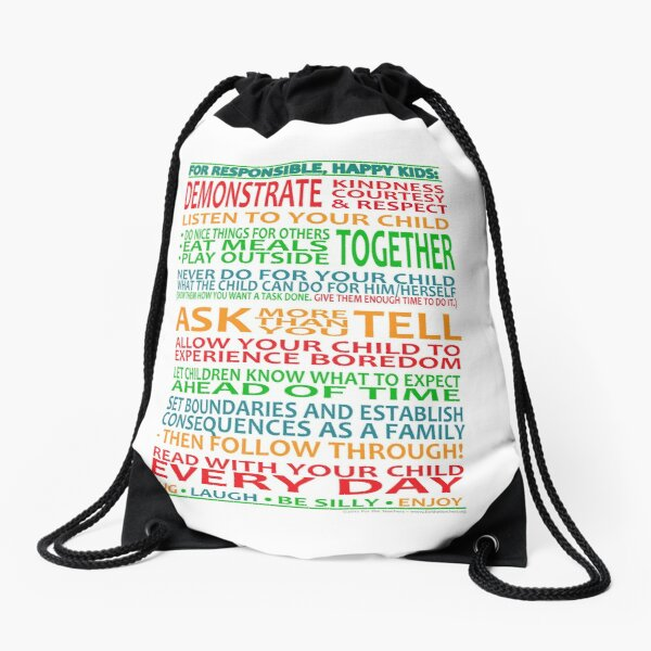 For Responsible, Happy Kids! Drawstring Bag