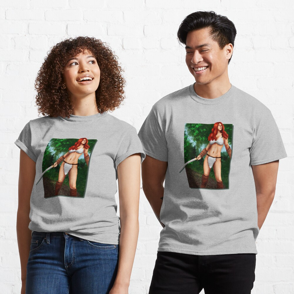 Red Haired Barbarian Babe Classic T-Shirt