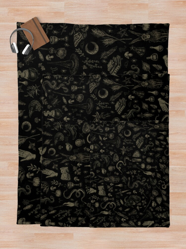 Alternate view of Just Witch Things (black and beige) Throw Blanket
