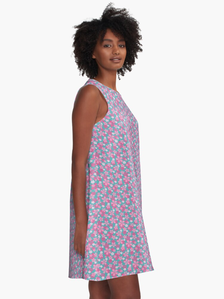 Alternate view of Sakura Chevron in Teal A-Line Dress