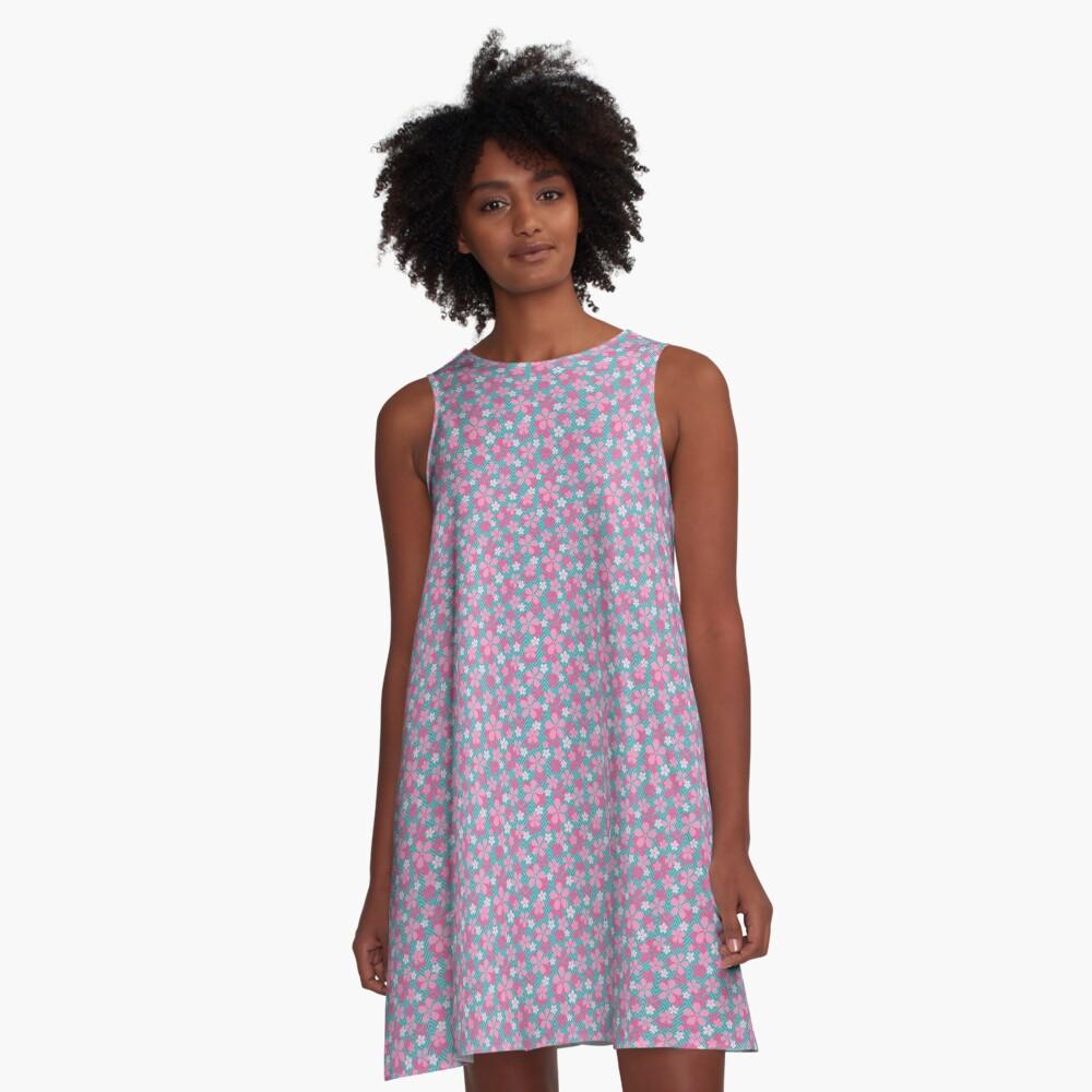 Sakura Chevron in Teal A-Line Dress